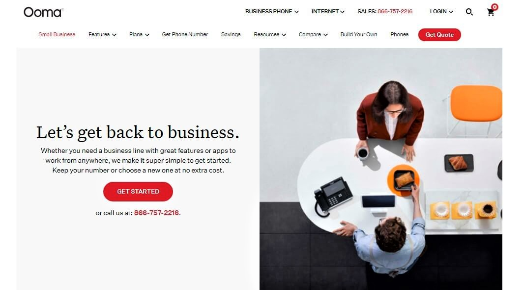 Ooma Website Screenshot