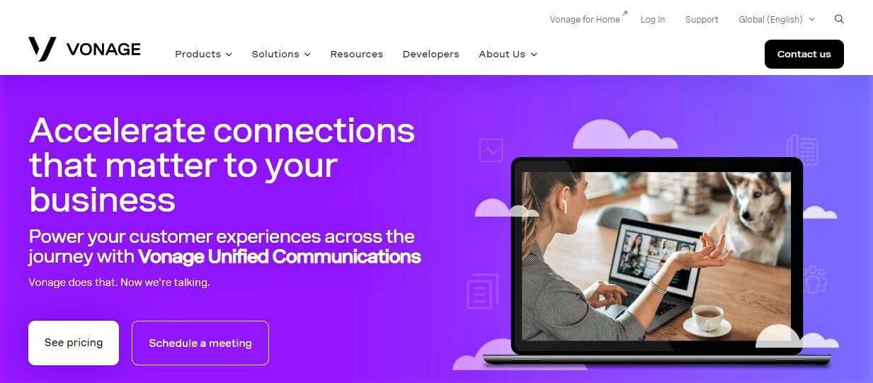Vonage Website Screenshot